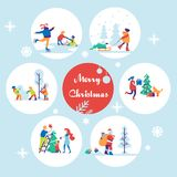Merry Christmas background with winter outdoor leisure activities. Flat vector illustration. Royalty Free Stock Photography
