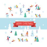 Merry Christmas background with winter outdoor leisure activities. Flat vector illustration. Stock Photography