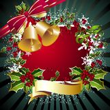 Merry Christmas Background With Bells And Holly Stock Images