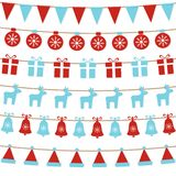 Merry Christmas background with xmas bunting flags, balls, gift boxes, reindeers, bells, santa hat. Bright Christmas garlands. Win vector illustration