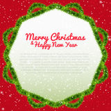 Merry Christmas background with xmas tree frame Stock Photo