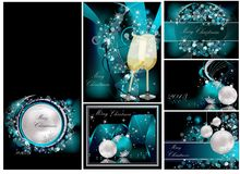 Merry Christmas backgrounds collection. Silver and blue Stock Photos