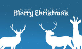 Merry christmas backgrounds deer of silhouette. Illustration Royalty Free Stock Images