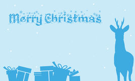 Merry Christmas Backgrounds gift and deer of silhouette. Illustration Stock Image