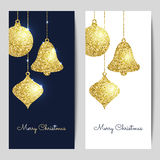 Merry Christmas backgrounds with gold hanging baubles. Shining g. Litter textured ball, bell and pine cone. Vector template for greeting cards, flyers Royalty Free Stock Photos