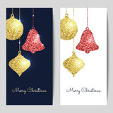 Merry Christmas backgrounds with gold and red hanging baubles. S. Hining glitter textured ball, bell and pine cone. Vector template for greeting cards, flyers Stock Photos
