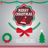 Merry Christmas badge and garment Royalty Free Stock Images
