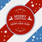 Merry christmas badge on stripes background Royalty Free Stock Photos