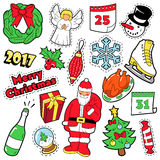 Merry Christmas Badges, Patches, Stickers. Santa Claus Christmas Tree Gifts and Angel in Pop Art Comic Style. Vector illustration stock illustration