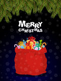 Merry Christmas. Bag full of gifts. Christmas night  and Santa R Stock Photo
