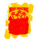 Merry Christmas bag with gifts. Big red sack of Santa Claus in g Stock Photos