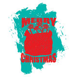 Merry Christmas bag with gifts. Big red sack of Santa Claus in g Royalty Free Stock Image