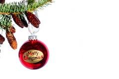 Merry Christmas Ball. Christmas ball with the words Merry Christmas stock photos