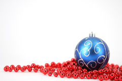 Merry christmas ball. Isolated christmas blue and red ball decoration background, merry christmas Stock Image