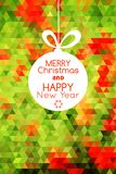 Merry Christmas ball card abstract background. Merry Christmas red ball card on triangular green abstract background Royalty Free Stock Photography