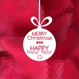 Merry Christmas ball card abstract red background Stock Photos