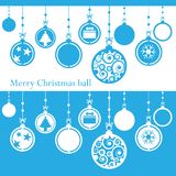Merry Christmas ball cutted from paper on blue royalty free stock photo