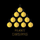 Merry Christmas ball. Gold sparkles glitter texture spruce fir tree. Flat design. Black background. Greeting card. Stock Image