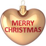Merry Christmas ball heart shaped gold decoration Stock Image