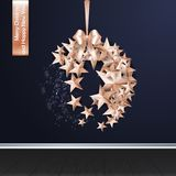 Merry Christmas Ball made from Stars Gift Card Royalty Free Stock Images