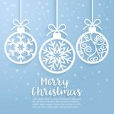 Merry Christmas ball paper cut art. Vector illustration. Royalty Free Stock Image