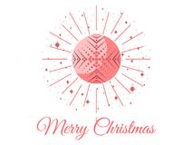 Merry Christmas. Ball with snowflake pattern. Pop Art. Vector. Illustration Stock Photo