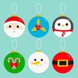 Merry Christmas ball toy hanging icon set. Tree decoration. Santa Claus head, red coat golden belt Snowman Holly berry Penguin Can Stock Photos