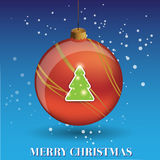 Merry Christmas ball and tree Royalty Free Stock Images