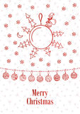 Merry christmas ball. Vector background doodle Stock Images