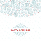 Merry christmas balls doodle pattern of line icons. Merry christmas balls doodle patterns. Icons line seamless with outline xmas ornaments and font templates Royalty Free Stock Photos