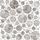 Merry christmas balls doodle pattern of line icons. Merry christmas balls doodle patterns. Icons line seamless with outline xmas ornaments and font templates Stock Photos