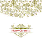 Merry christmas balls doodle pattern of line icons. Merry christmas balls doodle patterns. Vector icons with outline xmas ornaments and font templates. Design Stock Photography