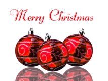 Merry Christmas Balls Red Background  Stock Image