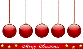 Merry Christmas. Christmas balls in red with stars Royalty Free Stock Images