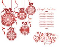 Christmas card with red balls. Christmas ball. Merry Christmas balls with snowflakes. New year holiday card vector illustration