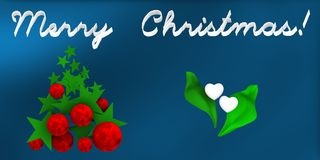 Merry christmas with balls and stars, over blue background, Royalty Free Stock Photo