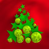 Merry christmas with balls and stars, over red background, Stock Photo