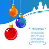 Merry christmas-04. Christmas balls on winter blue polygonal background. Holiday illustration Royalty Free Stock Photos