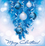 Merry Christmas banner with blue silver balls Royalty Free Stock Photo