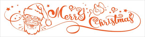 Merry Christmas, banner. Christmas card, lettering and Santa Claus. Vector image vector illustration