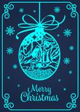 Merry Christmas banner card with  paper cut art mary and joseph in a manger with baby Jesus in Christmas Ball and snow sing vector. Design Royalty Free Stock Photography