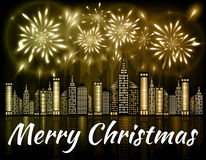 Merry Christmas banner decorated with fireworks exploding in night sky over downtown city. With reflection in water of golden shades Royalty Free Stock Photo