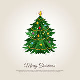 Merry Christmas Banner with Decorated Xmas Tree. Christmas celebrating banner. Beautiful decorated Christmas tree vector illustration. Merry Christmas and Happy Stock Images