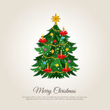 Merry Christmas Banner with Decorated Xmas Tree. Christmas celebrating banner. Beautiful decorated Christmas tree vector illustration. Merry Christmas and Happy Stock Photos