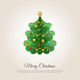 Merry Christmas Banner with Decorated Xmas Tree Royalty Free Stock Photography