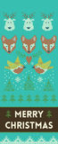 Merry Christmas banner with deers and foxes in knitted style Royalty Free Stock Photo