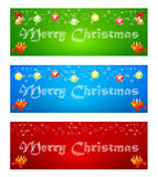 Merry Christmas banner on different backgrounds with elements of. Illustration with Merry Christmas greeting inscription on colored backgrounds Royalty Free Stock Photos