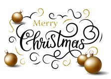 Merry Christmas banner. Faux calligraphy with X-mas balls and gold flourishes. Merry Christmas. Greeting vector card with handlettering imitation calligraphy Stock Photo
