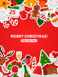 Merry Christmas Banner Flat Christmas Icons Stickers. Royalty Free Stock Image