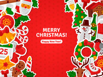 Merry Christmas Banner Flat Christmas Icons Stickers. Royalty Free Stock Photography